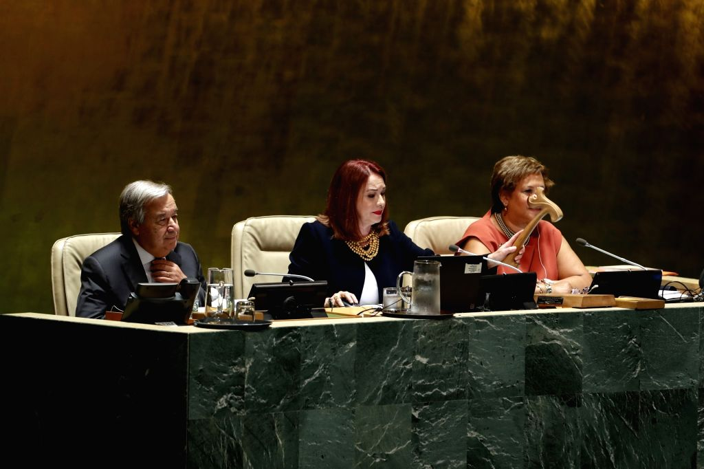 UNITED NATIONS, Sept. 18, 2018 - Maria Fernanda Espinosa Garces (C), President of the 73rd session of the United Nations General Assembly, gavels to open the 73rd session of the UN General Assembly ...