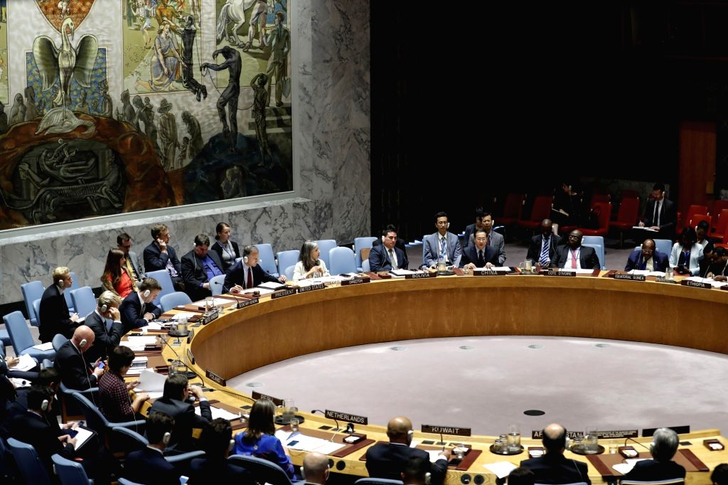 UNITED NATIONS, Sept. 18, 2018 - Photo taken on Sept. 17, 2018 shows a general view of the United Nations Security Council meeting on the situation in Afghanistan at the UN headquarters in New York. ...