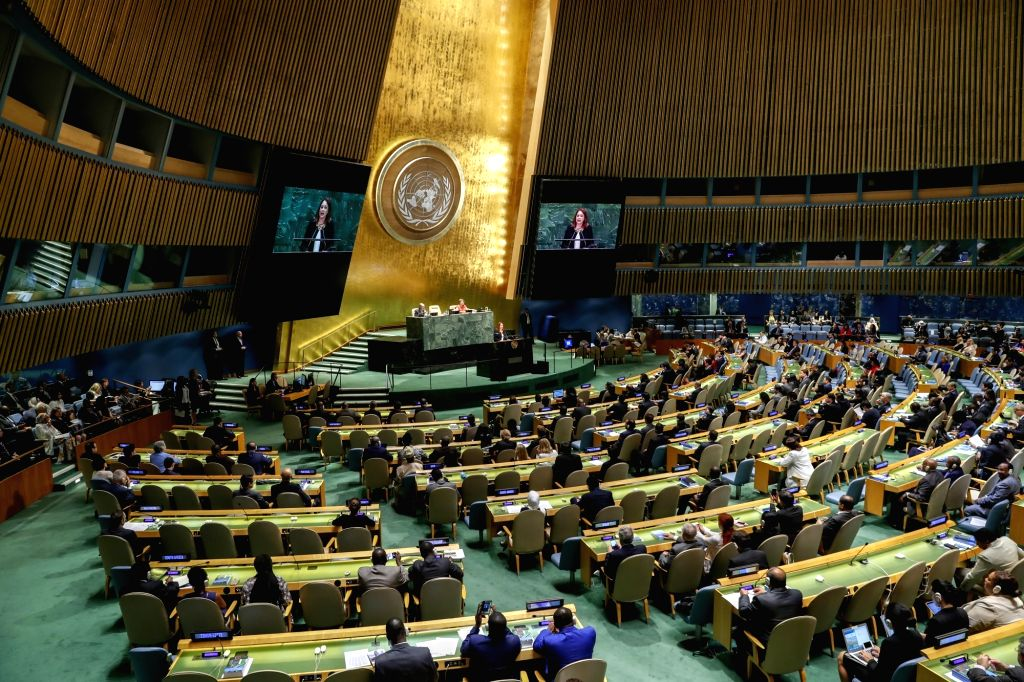 UNITED NATIONS, Sept. 18, 2018 - Photo taken on Sept. 18, 2018 shows a general view of the 73rd session of the United Nations General Assembly at the UN headquarters in New York.