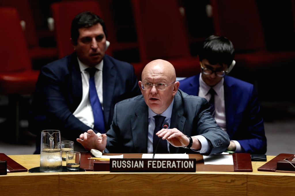 UNITED NATIONS, Sept. 18, 2018 - Russian Ambassador to the United Nations Vassily Nebenzia (Front) addresses a Security Council meeting on the situation in Syria at the UN headquarters in New York, ...