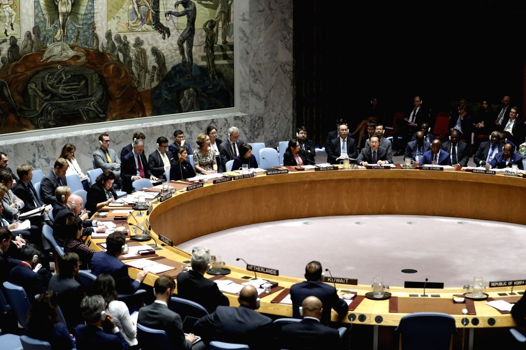 UNITED NATIONS, Sept. 18, 2018 - The United Nations Security Council holds a meeting on non-proliferation of the Democratic People's Republic of Korea (DPRK), at the UN headquarters in New York Sept. ...