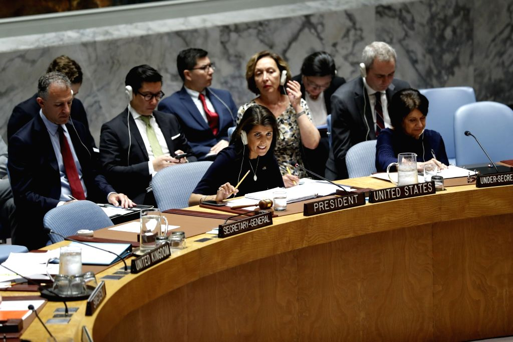 UNITED NATIONS, Sept. 18, 2018 - U.S. Ambassador to the United Nations Nikki Haley addresses a meeting of the UN Security Council on non-proliferation of the Democratic People's Republic of Korea ...