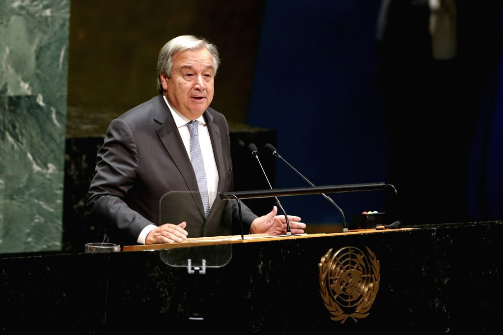 UNITED NATIONS, Sept. 18, 2018 - United Nations Secretary-General Antonio Guterres speaks during the opening of the 73rd session of the UN General Assembly at the UN headquarters in New York, Sept. ...