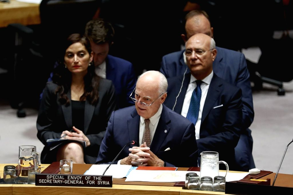 UNITED NATIONS, Sept. 18, 2018 - United Nations Special Envoy for Syria Staffan de Mistura (Front) addresses a Security Council meeting on the situation in Syria at the UN headquarters in New York, ...