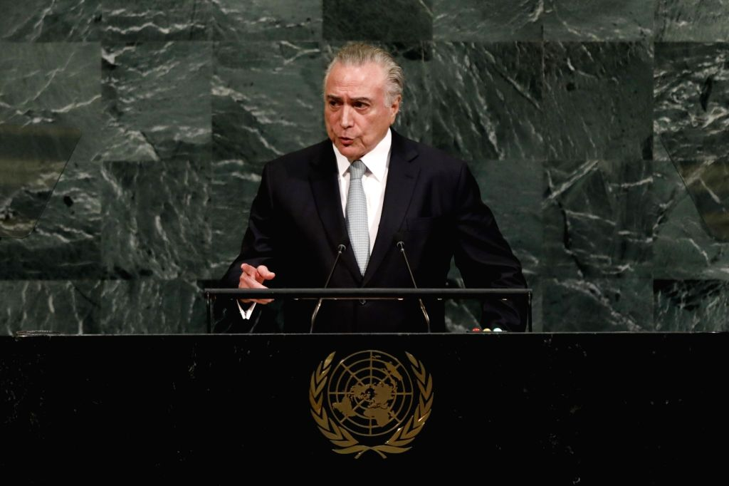 UNITED NATIONS, Sept. 19, 2017 - Brazilian President Michel Temer speaks during the general debate of the 72nd session of the United Nations General Assembly, at the UN headquarters in New York, ...
