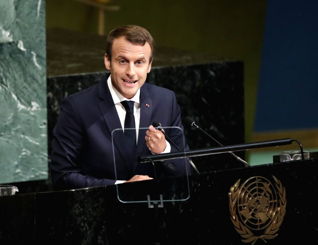 UNITED NATIONS, Sept. 19, 2017 - French President Emmanuel Macron speaks during the General Debate of the 72nd session of the United Nations General Assembly, at the UN headquarters in New York, ...