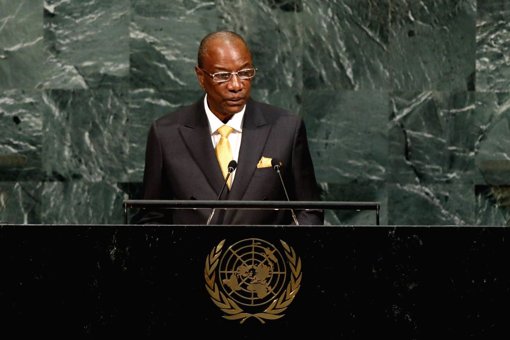 UNITED NATIONS, Sept. 19, 2017 - Guinean President Alpha Conde speaks during the General Debate of the 72nd session of the United Nations General Assembly, at the UN headquarters in New York, Sept. ...