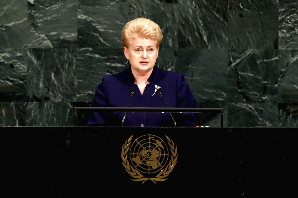 UNITED NATIONS, Sept. 19, 2017 - Lithuanian President Dalia Grybauskaite speaks during the General Debate of the 72nd session of the United Nations General Assembly, at the UN headquarters in New ...