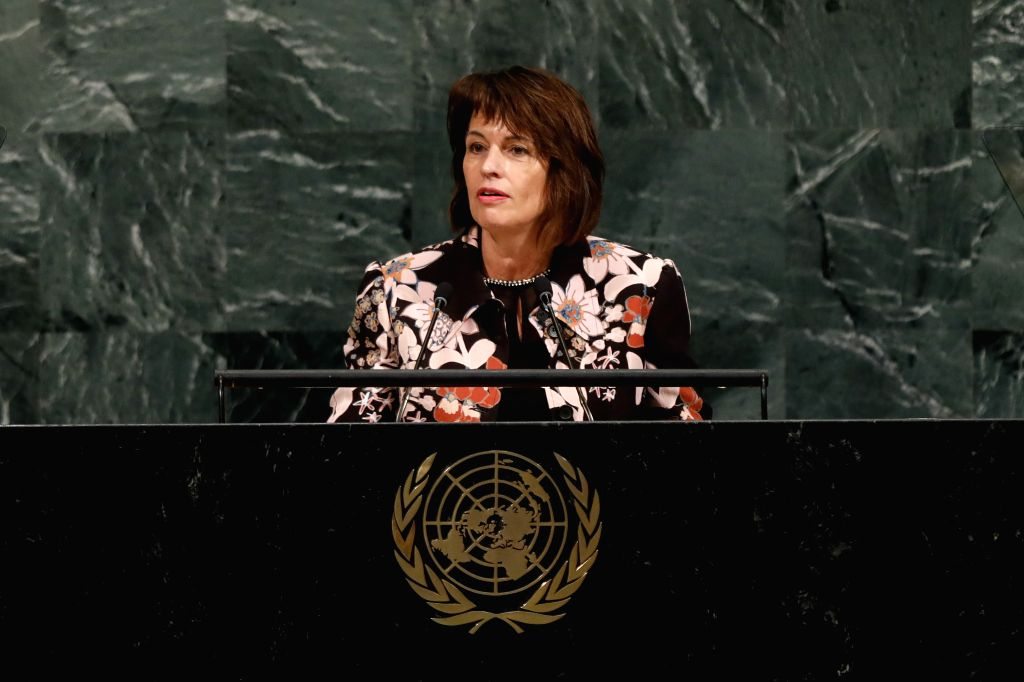 UNITED NATIONS, Sept. 19, 2017 - Swiss President Doris Leuthard speaks during the General Debate of the 72nd session of the United Nations General Assembly, at the UN headquarters in New York, Sept. ...