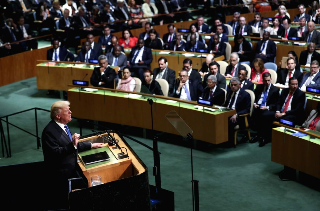 UNITED NATIONS, Sept. 19, 2017 - U.S. President Donald Trump (front) speaks during the general debate of the 72nd session of the United Nations General Assembly, at the UN headquarters in New York, ...