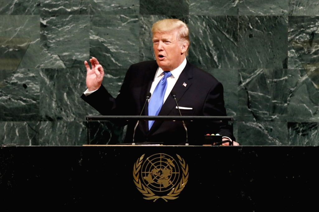 UNITED NATIONS, Sept. 19, 2017 - U.S. President Donald Trump speaks during the general debate of the 72nd session of the United Nations General Assembly, at the UN headquarters in New York, Sept. 19, ...