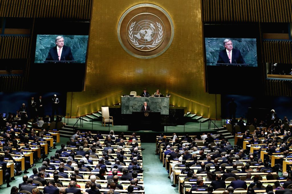 UNITED NATIONS, Sept. 19, 2017 - UN Secretary-General Antonio Guterres addresses the 72nd session of the United Nations General Assembly, at the UN headquarters in New York, Sept. 19, 2017. UN ...