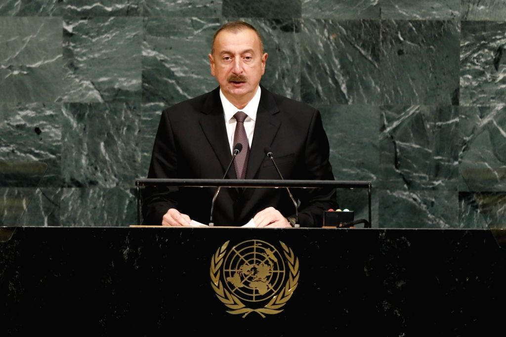 UNITED NATIONS, Sept. 20, 2017 - Azerbaijani President Ilham Aliyev addresses the 72nd United Nations General Assembly general debate at the UN headquarters in New York, Sept. 20, 2017.