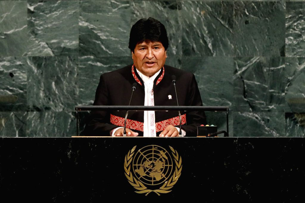 UNITED NATIONS, Sept. 20, 2017 - Bolivian President Evo Morales speaks during the General Debate of the 72nd session of the United Nations General Assembly, at the UN headquarters in New York, Sept. ...