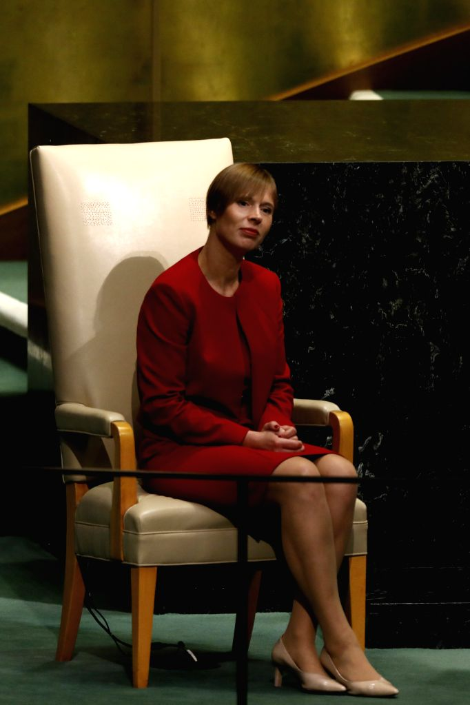 UNITED NATIONS, Sept. 20, 2017 - Estonian President Kersti Kaljulaid waits to speak during the General Debate of the 72nd session of the United Nations General Assembly, at the UN headquarters in New ...
