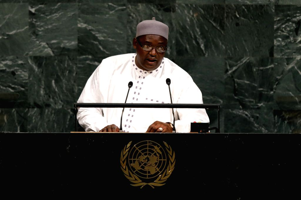 UNITED NATIONS, Sept. 20, 2017 - Gambian President Adama Barrow speaks during the General Debate of the 72nd session of the United Nations General Assembly, at the UN headquarters in New York, Sept. ...