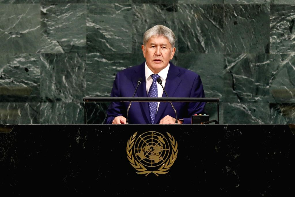 UNITED NATIONS, Sept. 20, 2017 - Kyrgyz President Almazbek Atambayev addresses the 72nd United Nations General Assembly general debate at the UN headquarters in New York, Sept. 20, 2017.