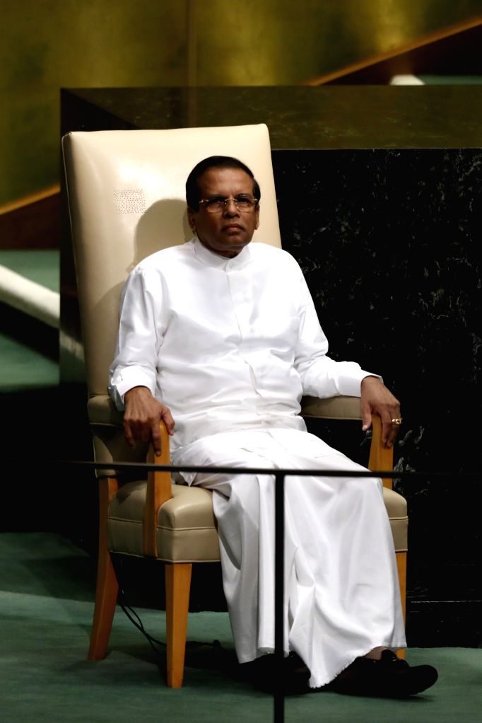 UNITED NATIONS, Sept. 20, 2017 - Sri Lanka's President Maithripala Sirisena waits to speak during the General Debate of the 72nd session of the United Nations General Assembly, at the UN headquarters ...