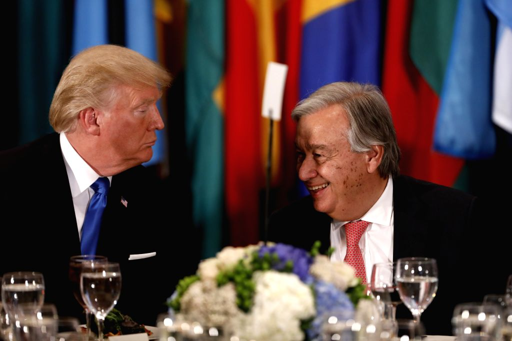 UNITED NATIONS, Sept. 20, 2017 - U.S. President Donald Trump (L) and United Nations Secretary-General Antonio Guterres attend a Heads of States Luncheon hosted by Guterres, at the UN headquarters in ...
