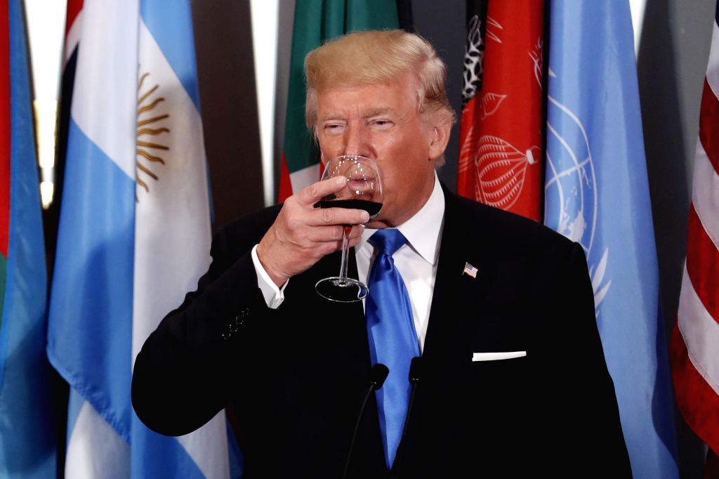 UNITED NATIONS, Sept. 20, 2017 - U.S. President Donald Trump makes a toast during a Heads of States Luncheon hosted by the United Nations Secretary-General Antonio Guterres, at the UN headquarters in ...