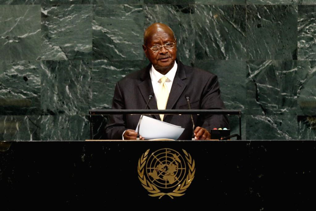 UNITED NATIONS, Sept. 20, 2017 - Ugandan President Yoweri Museveni speaks during the General Debate of the 72nd session of the United Nations General Assembly, at the UN headquarters in New York, ...