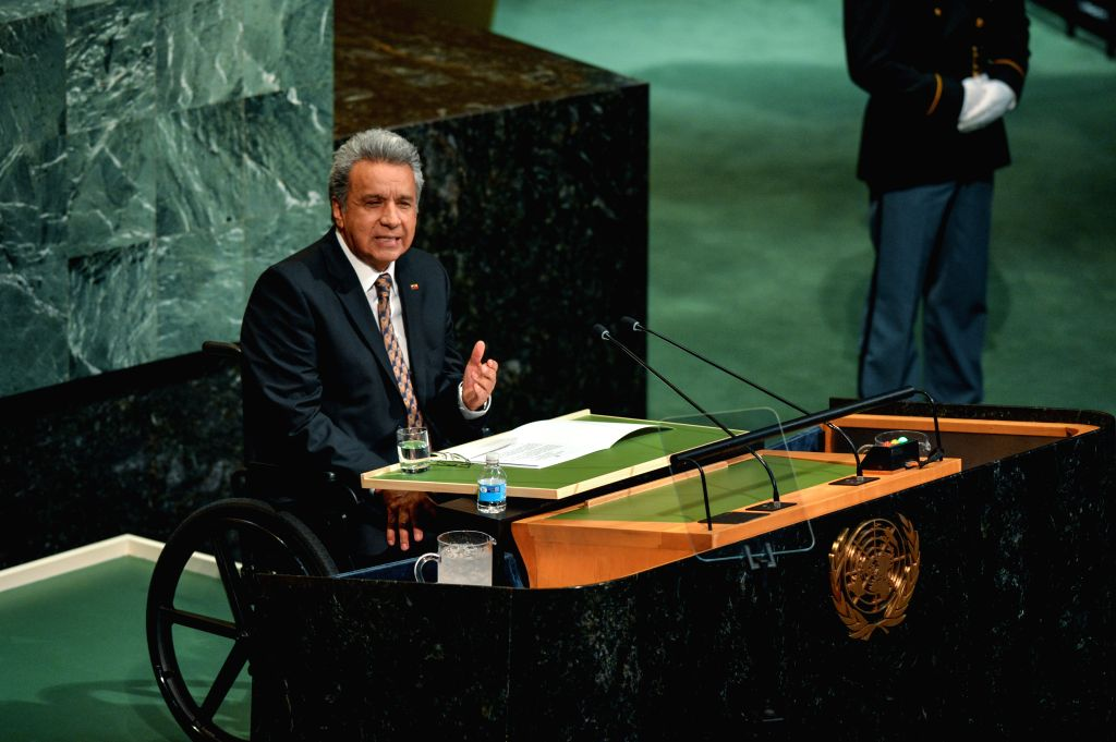 UNITED NATIONS, Sept. 21, 2017 - Ecuadorian President Lenin Moreno addresses the 72nd session of United Nations General Assembly on the second day of the general debate at the UN headquarters in New ...