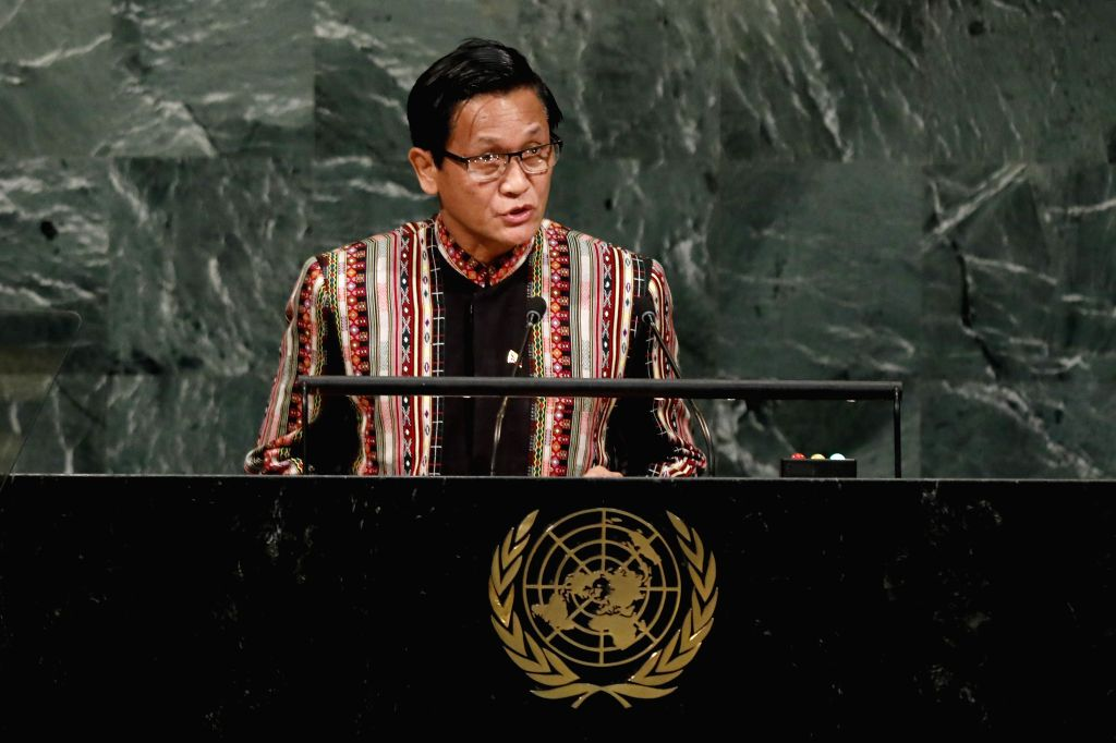 UNITED NATIONS, Sept. 21, 2017 - Myanmar's Vice President U Henry Van Thio addresses the 72nd session of United Nations General Assembly on the second day of the general debate at the UN headquarters ...
