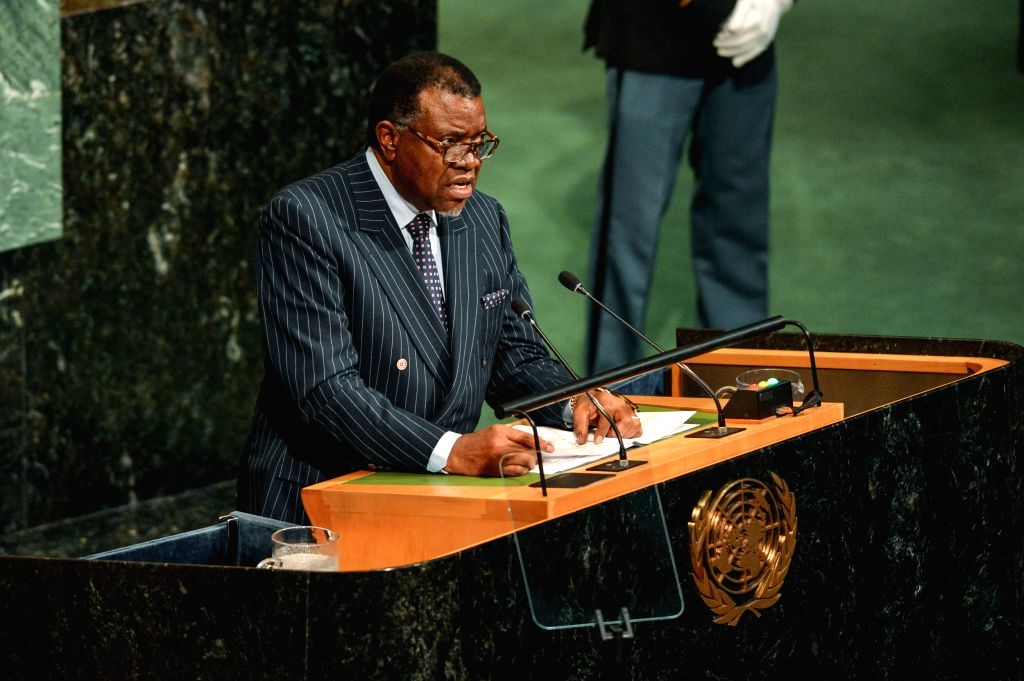 UNITED NATIONS, Sept. 21, 2017 - Namibian President Hage Geingob addresses the 72nd session of United Nations General Assembly on the second day of the general debate at the UN headquarters in New ...