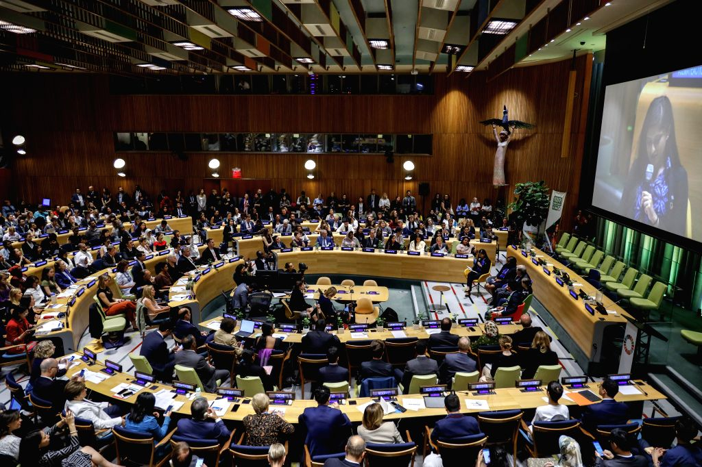 UNITED NATIONS, Sept. 21, 2019 - Photo taken on Sept. 21, 2019 shows the United Nations Youth Climate Summit held at the UN headquarters in New York, Sept. 21, 2019. UN Secretary-General Antonio ...