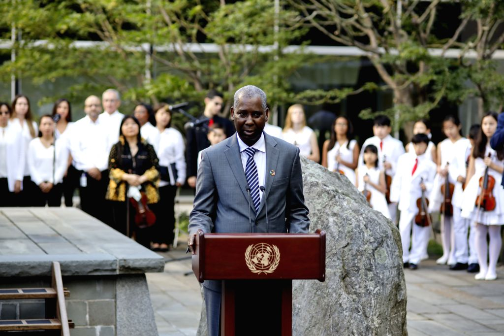 UNITED NATIONS, Sept. 21, 2019 - Tijjani Muhammad-Bande, president of the United Nations (UN) General Assembly, addresses a ceremony to mark World Peace Day, observed every year on Sept. 21, at the ...