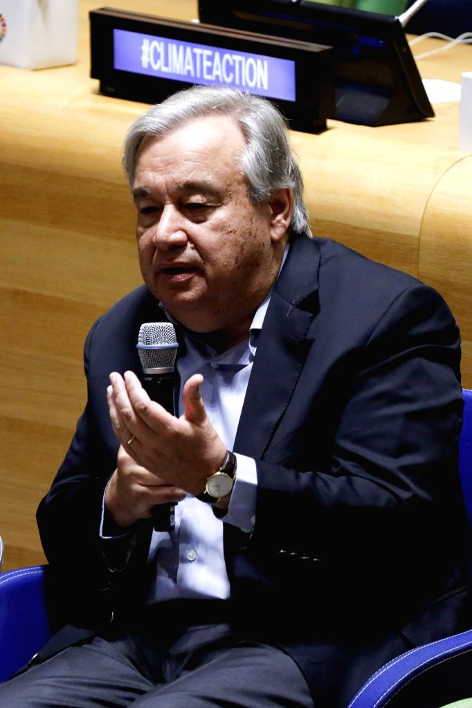 UNITED NATIONS, Sept. 21, 2019 - United Nations Secretary-General Antonio Guterres speaks during the UN Youth Climate Summit at the UN headquarters in New York, Sept. 21, 2019. UN Secretary-General ...