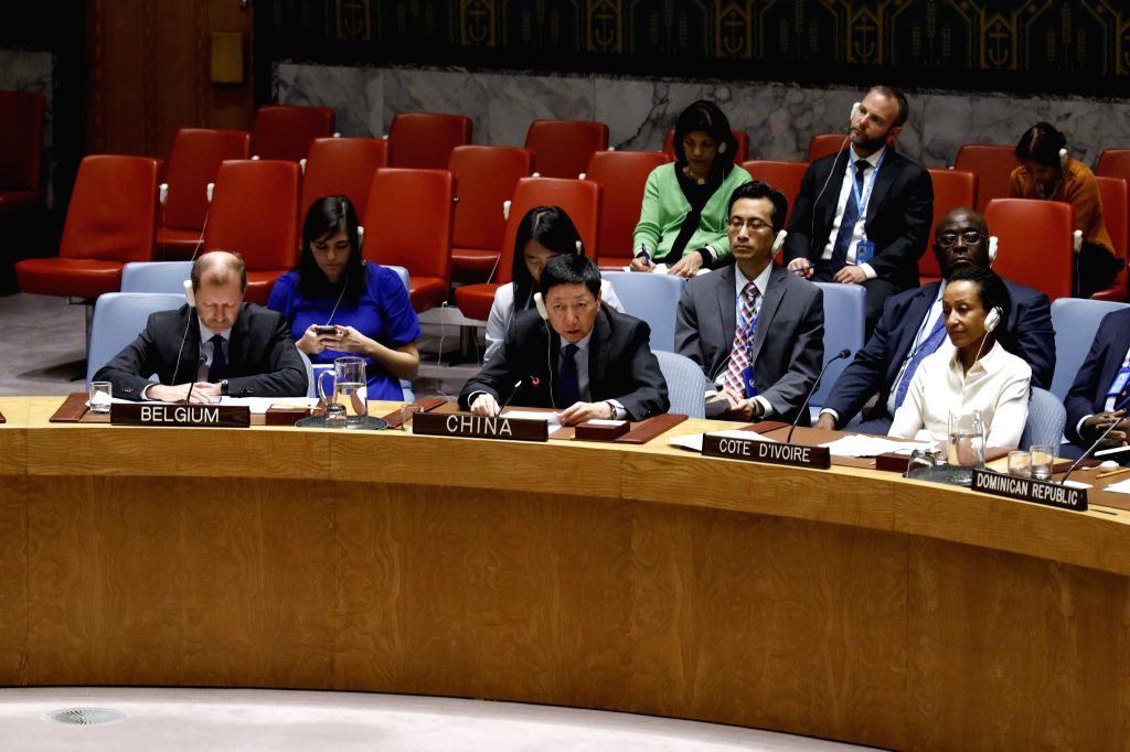 UNITED NATIONS, Sept. 21, 2019 - Wu Haitao (C, front), China's deputy permanent representative to the United Nations, addresses a Security Council meeting at the UN headquarters in New York, Sept. ...