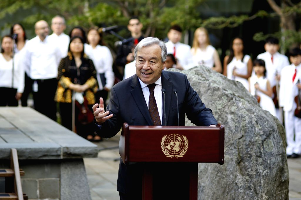 UNITED NATIONS, Sept. 21, 2019 (Xinhua) -- United Nations Secretary-General Antonio Guterres addresses a ceremony to mark World Peace Day, observed every year on Sept. 21, at the UN headquarters in New York, Sept. 20, 2019. UN Secretary-General Anton