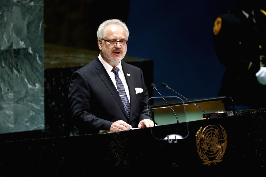 UNITED NATIONS, Sept. 24, 2019 - Latvian President Egils Levits addresses the General Debate of the 74th session of the UN General Assembly at the UN headquarters in New York, on Sept. 24, 2019. The ...