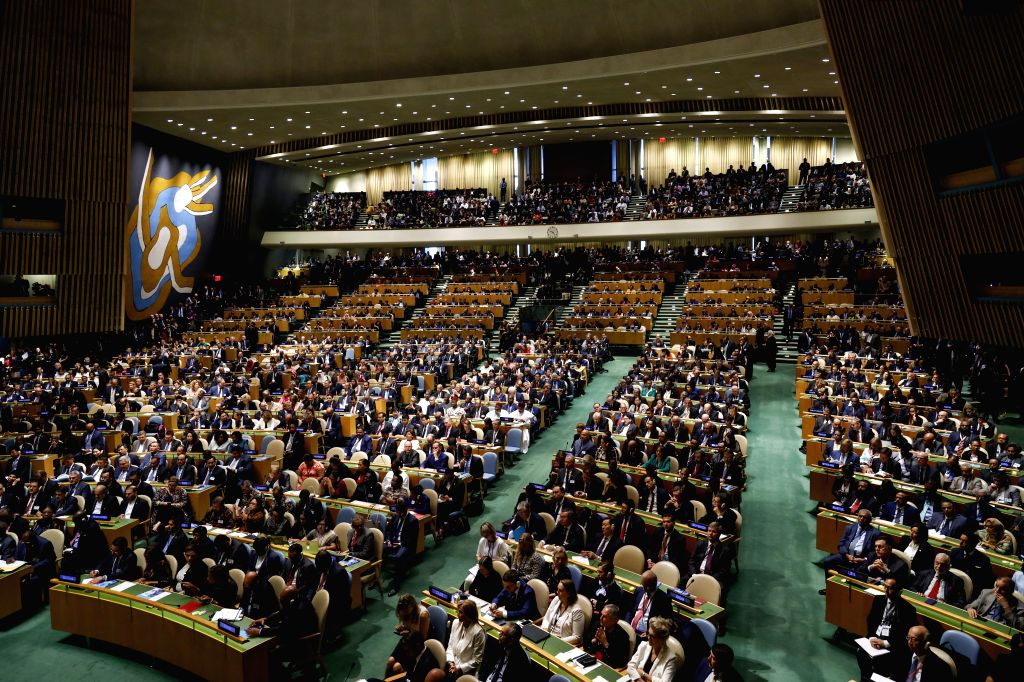 UNITED NATIONS, Sept. 24, 2019 (Xinhua) -- Participants attend the opening of the General Debate of the 74th session of the UN General Assembly at the UN headquarters in New York, Sept. 24, 2019. (Xinhua/Li Muzi/IANS)