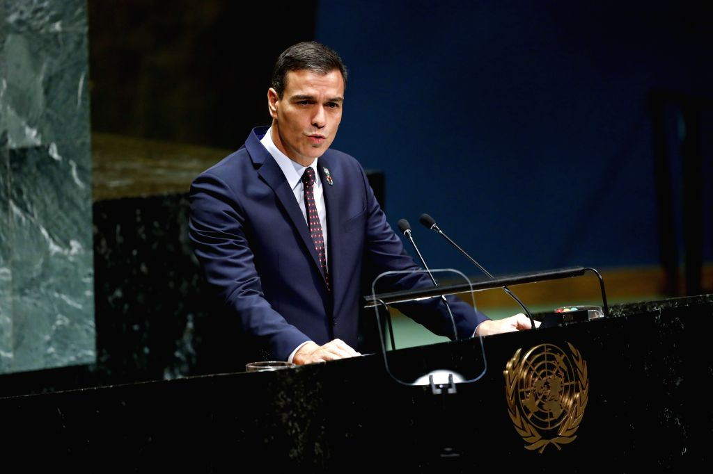 UNITED NATIONS, Sept. 25, 2019 - Acting Spanish Prime Minister Pedro Sanchez addresses the General Debate of the 74th session of the UN General Assembly at the UN headquarters in New York, Sept. 24, ... - Pedro Sanchez