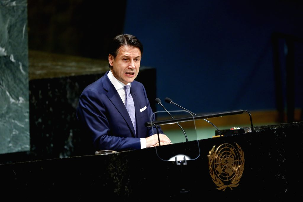 UNITED NATIONS, Sept. 25, 2019 - Italian Prime Minister Giuseppe Conte addresses the General Debate of the 74th session of the UN General Assembly at the UN headquarters in New York, Sept. 24, 2019. ... - Giuseppe Conte