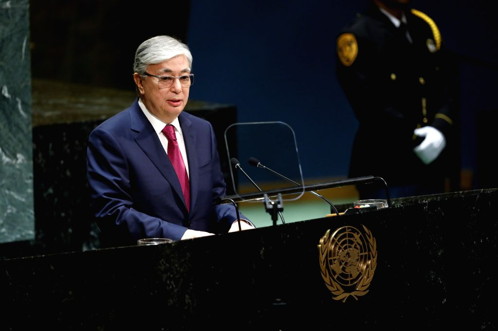 UNITED NATIONS, Sept. 25, 2019 - Kazakh President Kassym-Jomart Tokayev addresses the General Debate of the 74th session of the UN General Assembly at the UN headquarters in New York, Sept. 24, 2019. ...