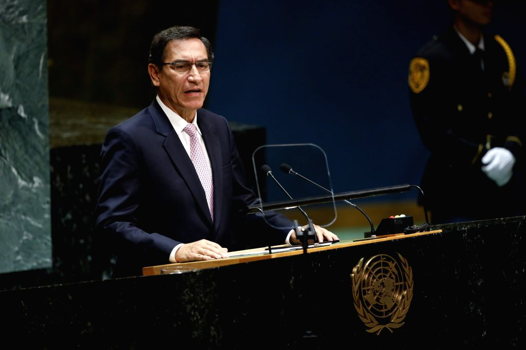 UNITED NATIONS, Sept. 25, 2019 - Peruvian President Martin Vizcarra addresses the General Debate of the 74th session of the UN General Assembly at the UN headquarters in New York, Sept. 24, 2019. ...