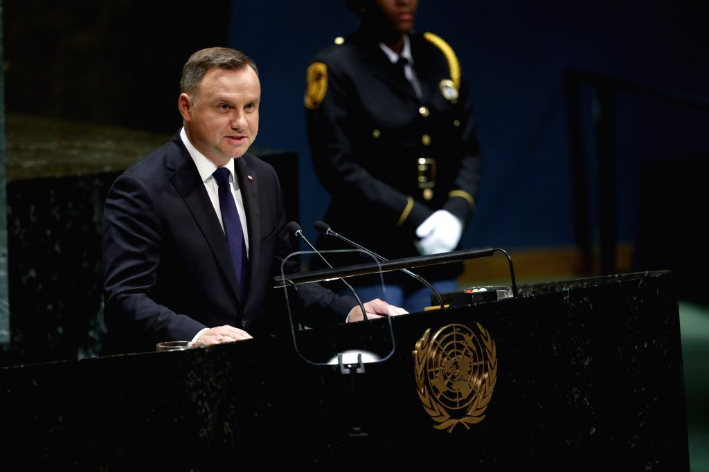 UNITED NATIONS, Sept. 25, 2019 - Polish President Andrzej Duda addresses the General Debate of the 74th session of the UN General Assembly at the UN headquarters in New York, Sept. 24, 2019. World ...