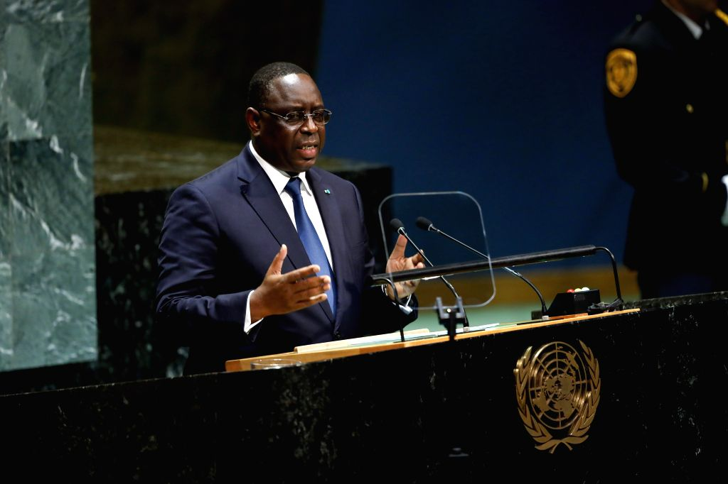 UNITED NATIONS, Sept. 25, 2019 - Senegalese President Macky Sall addresses the General Debate of the 74th session of the UN General Assembly at the UN headquarters in New York, Sept. 24, 2019. World ...