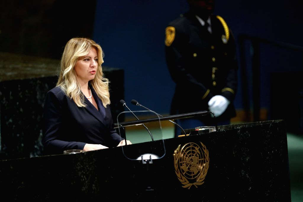 UNITED NATIONS, Sept. 25, 2019 - Slovak President Zuzana Caputova addresses the General Debate of the 74th session of the UN General Assembly at the UN headquarters in New York, Sept. 24, 2019. World ...