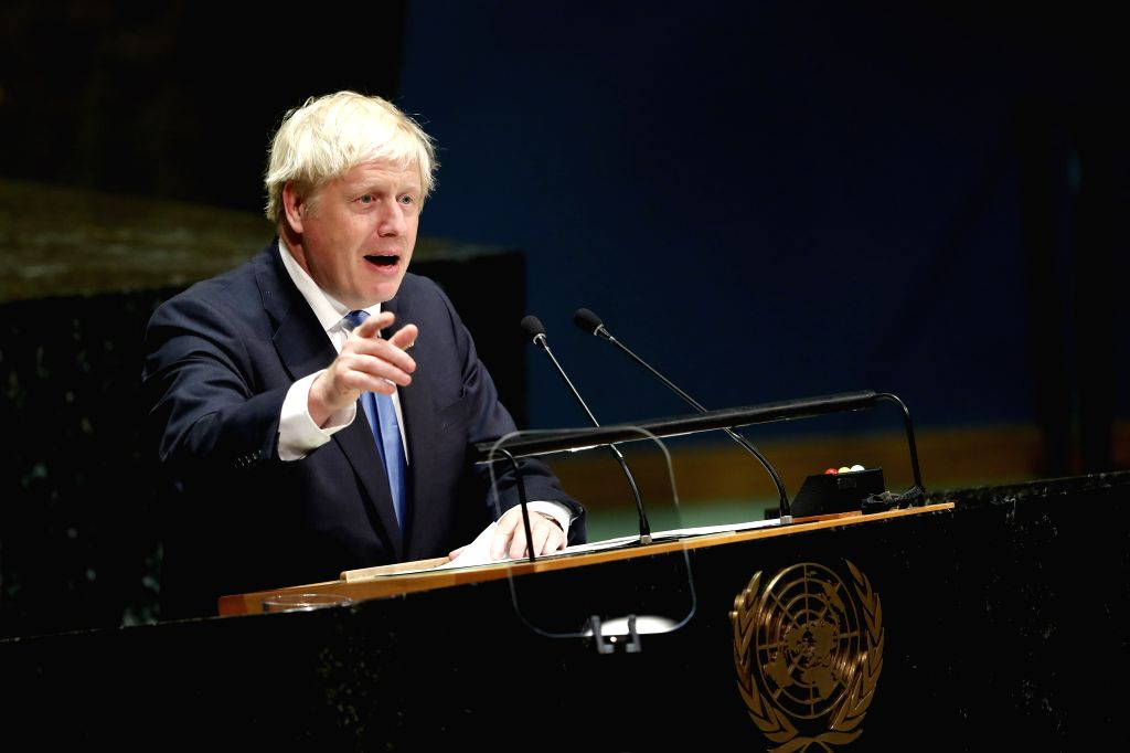 UNITED NATIONS, Sept. 25, 2019 (Xinhua) -- British Prime Minister Boris Johnson addresses the General Debate of the 74th session of the UN General Assembly at the UN headquarters in New York, Sept. 24, 2019. World leaders attending the ongoing Genera - Boris Johnson