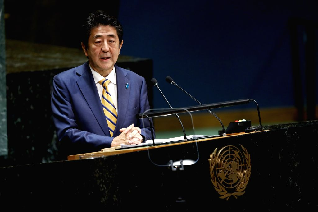 UNITED NATIONS, Sept. 25, 2019 (Xinhua) -- Japanese Prime Minister Shinzo Abe addresses the General Debate of the 74th session of the UN General Assembly at the UN headquarters in New York, Sept. 24, 2019. World leaders attending the ongoing General  - Shinzo Abe