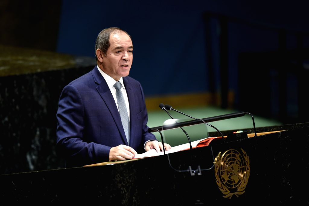 UNITED NATIONS, Sept. 27, 2019 - Algerian Foreign Minister Sabri Boukadoum addresses the General Debate of the 74th session of the UN General Assembly at the UN headquarters in New York, on Sept. 27, ... - Sabri Boukadoum