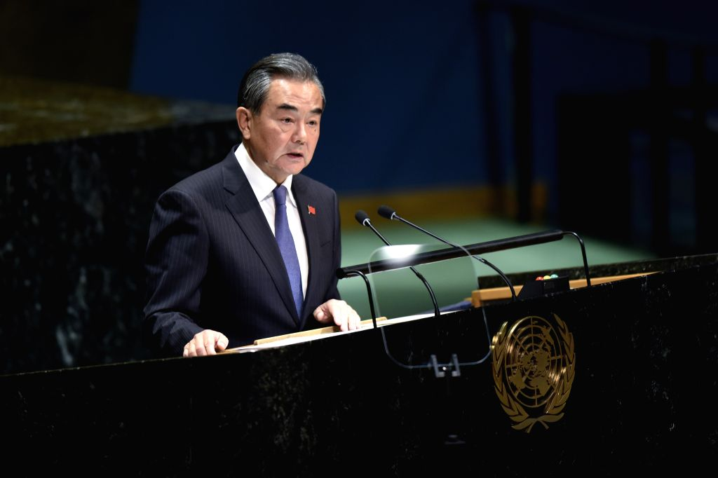 UNITED NATIONS, Sept. 27, 2019 - Chinese State Councilor and Foreign Minister Wang Yi addresses the General Debate of the 74th session of the UN General Assembly at the UN headquarters in New York, ... - Wang Y
