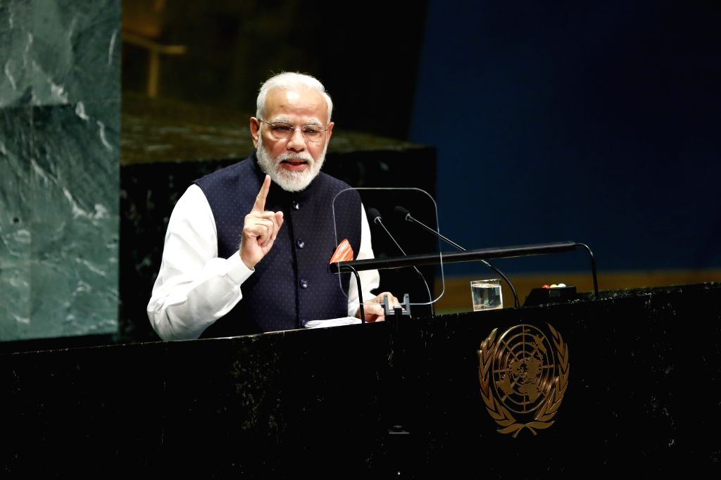 UNITED NATIONS, Sept. 27, 2019 - Indian Prime Minister Narendra Modi addresses the General Debate of the 74th session of the UN General Assembly at the UN headquarters in New York, on Sept. 27, 2019. - Narendra Modi