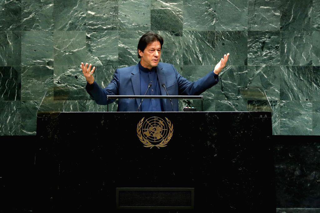 UNITED NATIONS, Sept. 27, 2019 - Pakistani Prime Minister Imran Khan addresses the General Debate of the 74th session of the UN General Assembly at the UN headquarters in New York, on Sept. 27, 2019. - Imran Khan
