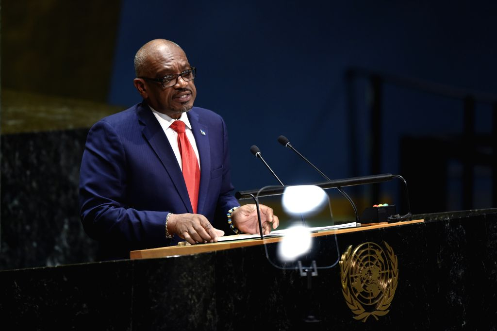 UNITED NATIONS, Sept. 27, 2019 - Prime Minister of the Bahamas Hubert Minnis addresses the General Debate of the 74th session of the UN General Assembly at the UN headquarters in New York, on Sept. ...