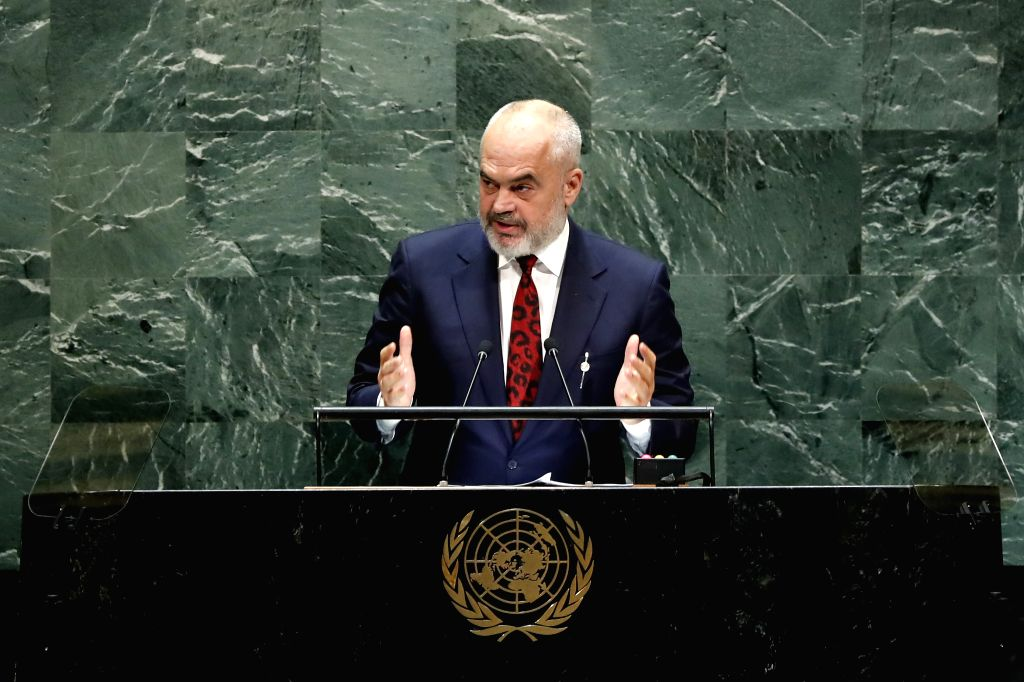 UNITED NATIONS, Sept. 28, 2019 - Albanian Prime Minister Edi Rama addresses the General Debate of the 74th session of the UN General Assembly at the UN headquarters in New York, Sept. 27, 2019. - Edi Rama